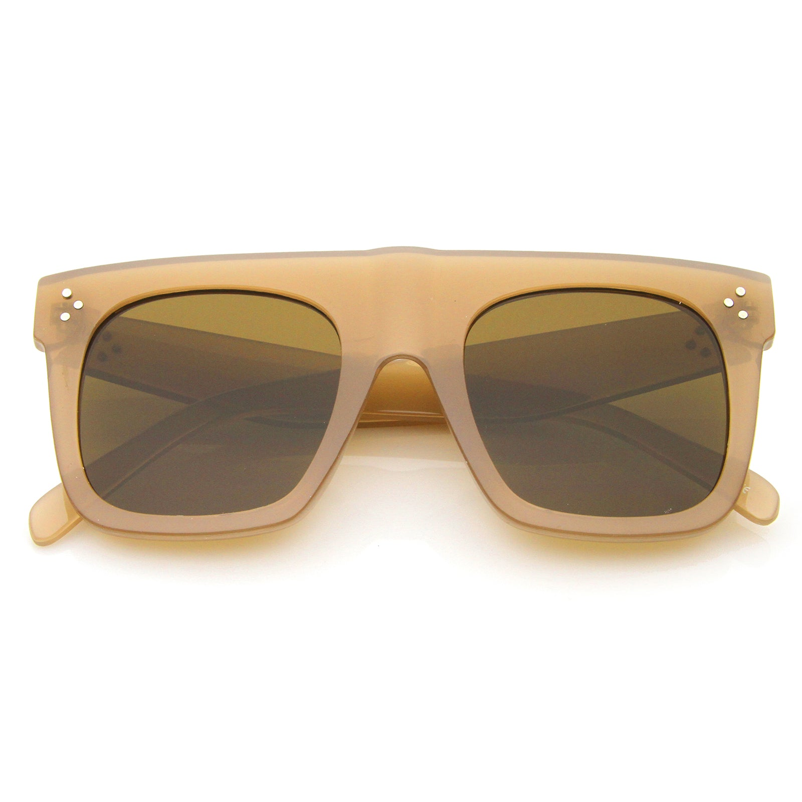 Modern Fashion Bold Flat Top Square Horn Rimmed Sunglasses 50mm - sunglass.la - 13