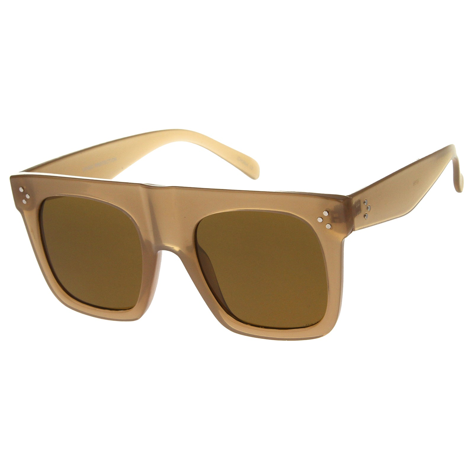 Modern Fashion Bold Flat Top Square Horn Rimmed Sunglasses 50mm - sunglass.la - 14