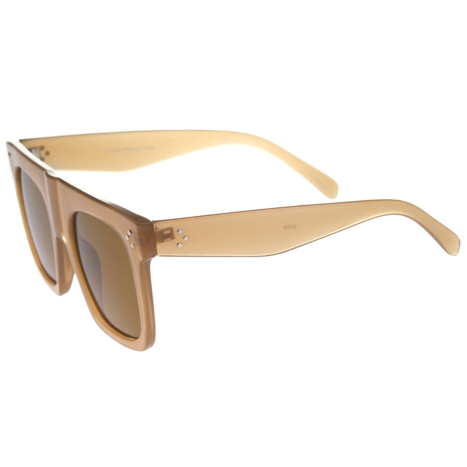 Modern Fashion Bold Flat Top Square Horn Rimmed Sunglasses 50mm - sunglass.la - 15