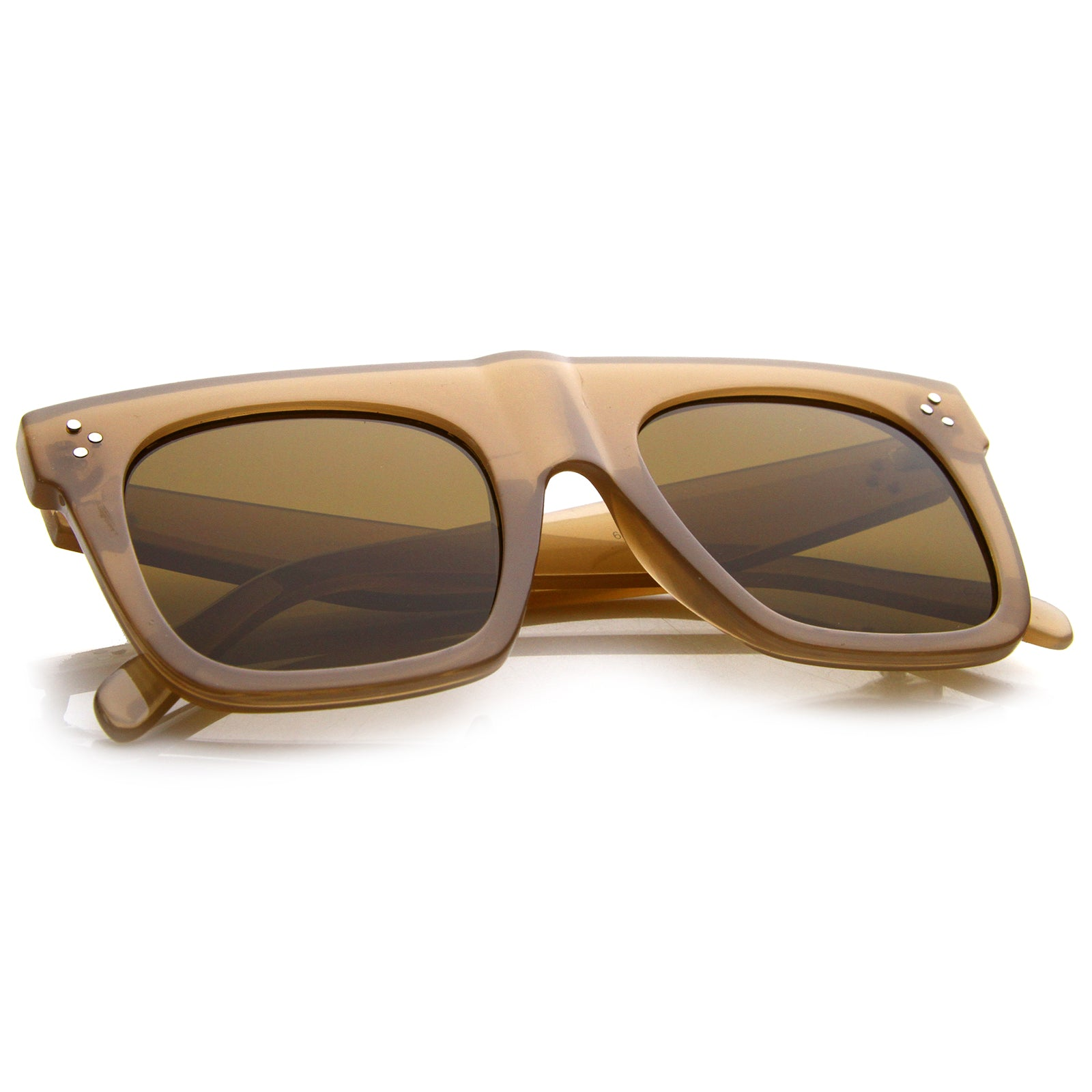 Modern Fashion Bold Flat Top Square Horn Rimmed Sunglasses 50mm - sunglass.la - 16