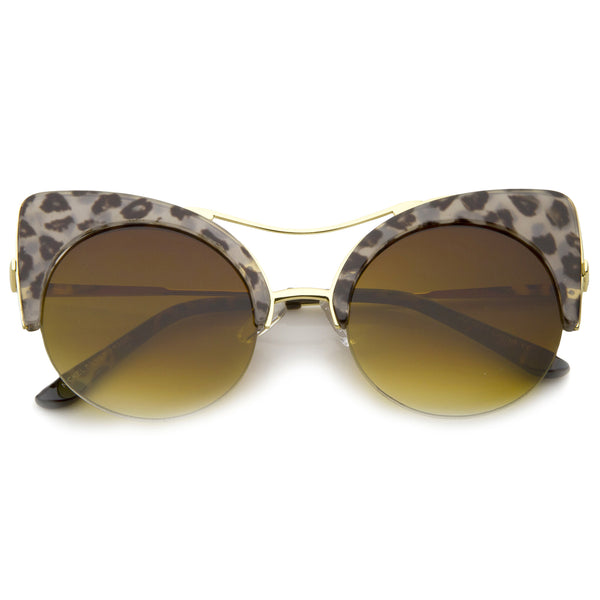 Women's Half-frame High Pointed Flat Lens Round Cat Eye Sunglasses 51mm - sunglass.la - 1