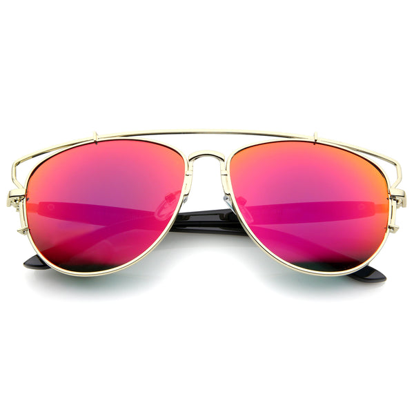 Modern Full Metal Crossbar Open Design Colored Mirror Aviator Sunglasses 58mm - sunglass.la - 1