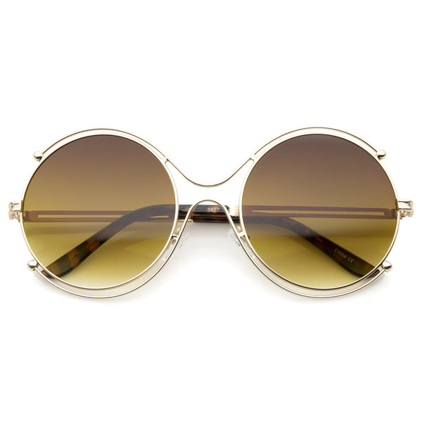 Women's Fashion Wire Rimmed Temple Cutout Round Oversized Sunglasses 58mm - sunglass.la - 1