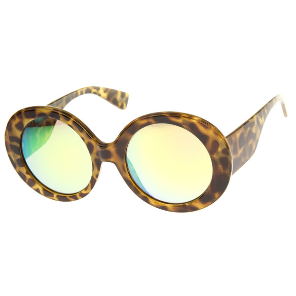 High Fashion Chunky Colored Mirror Round Oversize Sunglasses 50mm - sunglass.la