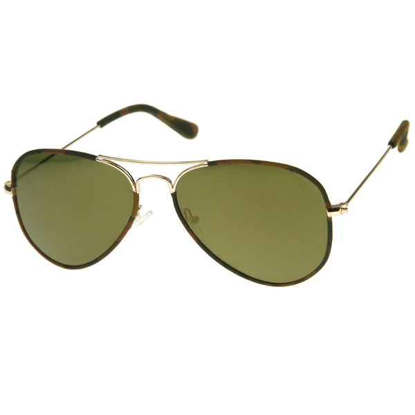 Camouflage Print Fabric Teardrop Shape Lens Aviator Sunglasses 60mm - sunglass.la