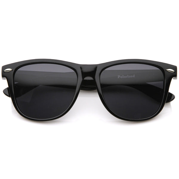 Large Oversize Classic Dark Tinted Lens Horn Rimmed Sunglasses 55mm - sunglass.la - 1