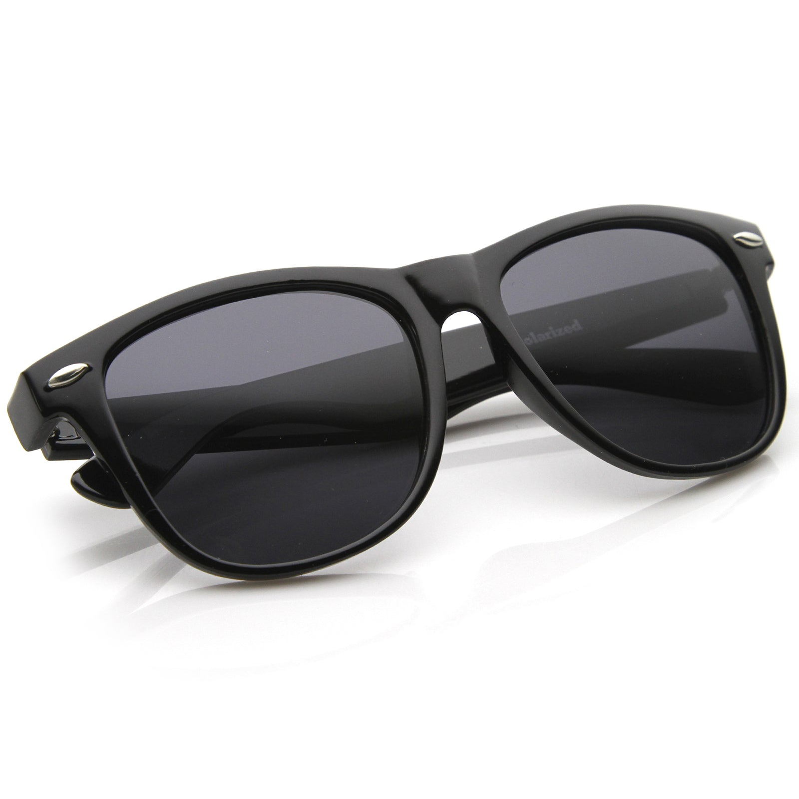 Large Oversize Classic Dark Tinted Lens Horn Rimmed Sunglasses 55mm - sunglass.la - 4