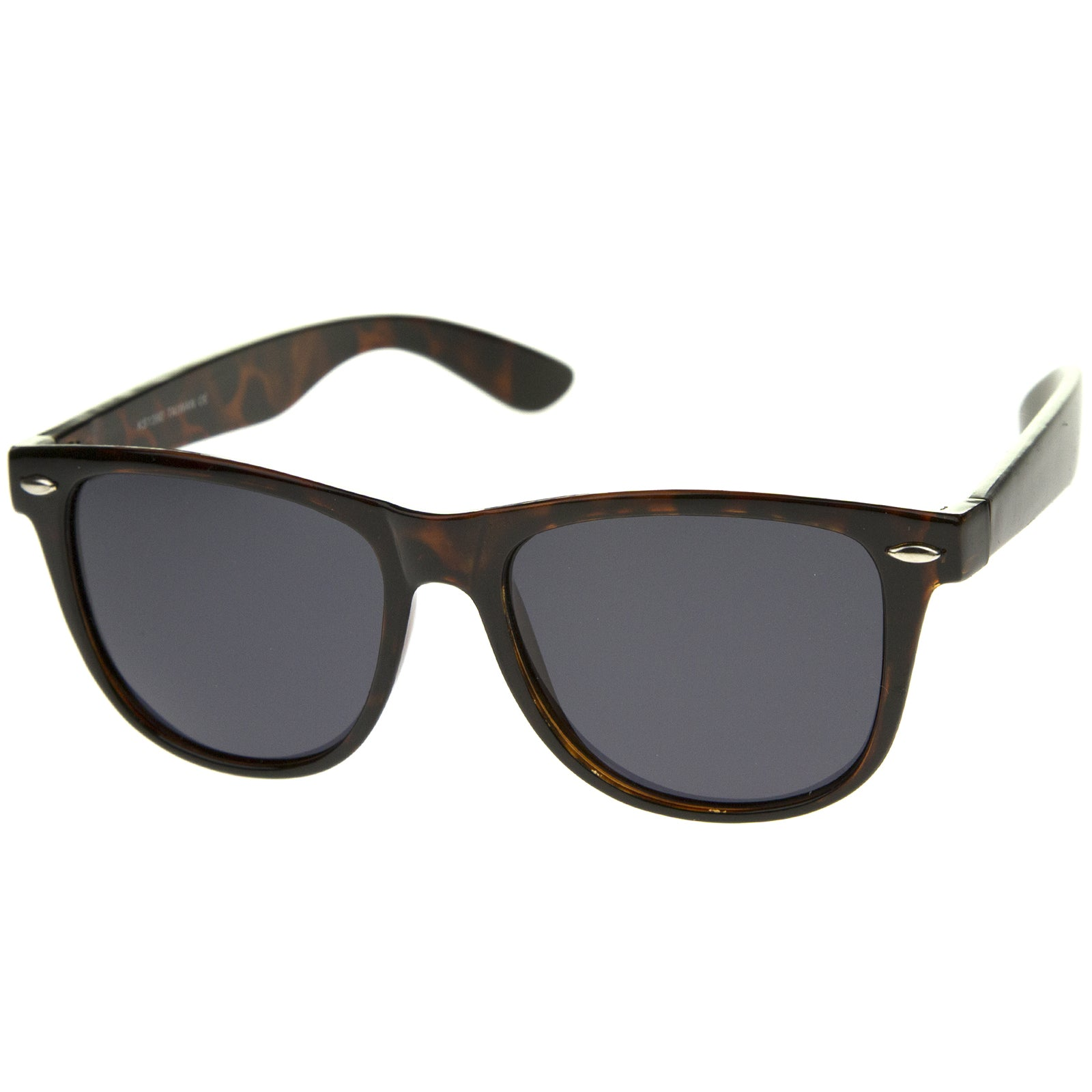 Large Oversize Classic Dark Tinted Lens Horn Rimmed Sunglasses 55mm - sunglass.la - 6