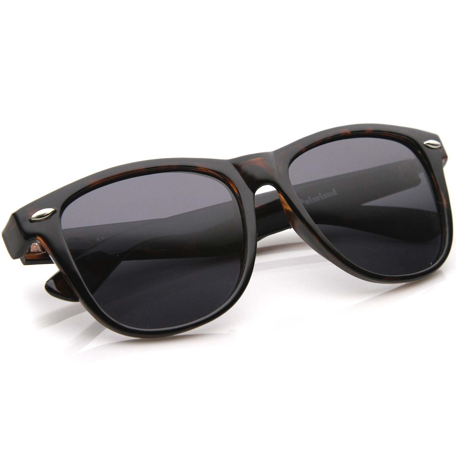 Large Oversize Classic Dark Tinted Lens Horn Rimmed Sunglasses 55mm - sunglass.la - 8