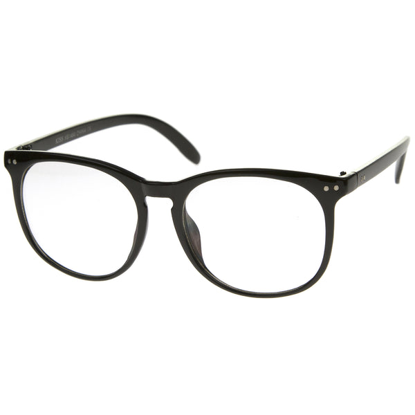Oversize Classic Keyhole Bridged Horn Rimmed Round Clear Lens Glasses 55mm - sunglass.la - 1