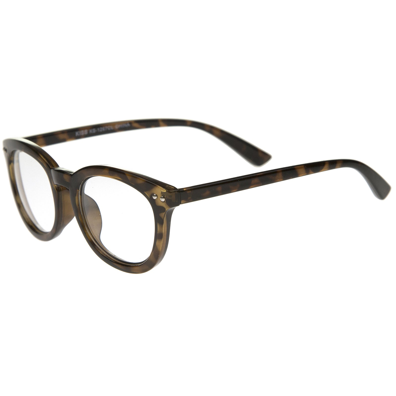 Classic Retro Casual Frame Horn Rimmed Oval Clear Lens Glasses 47mm - sunglass.la
