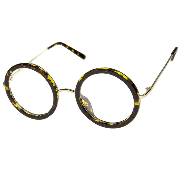 Lennon Retro Fashion Thick Frame Metal Temple Round Clear Lens Glasses 50mm - sunglass.la - 1