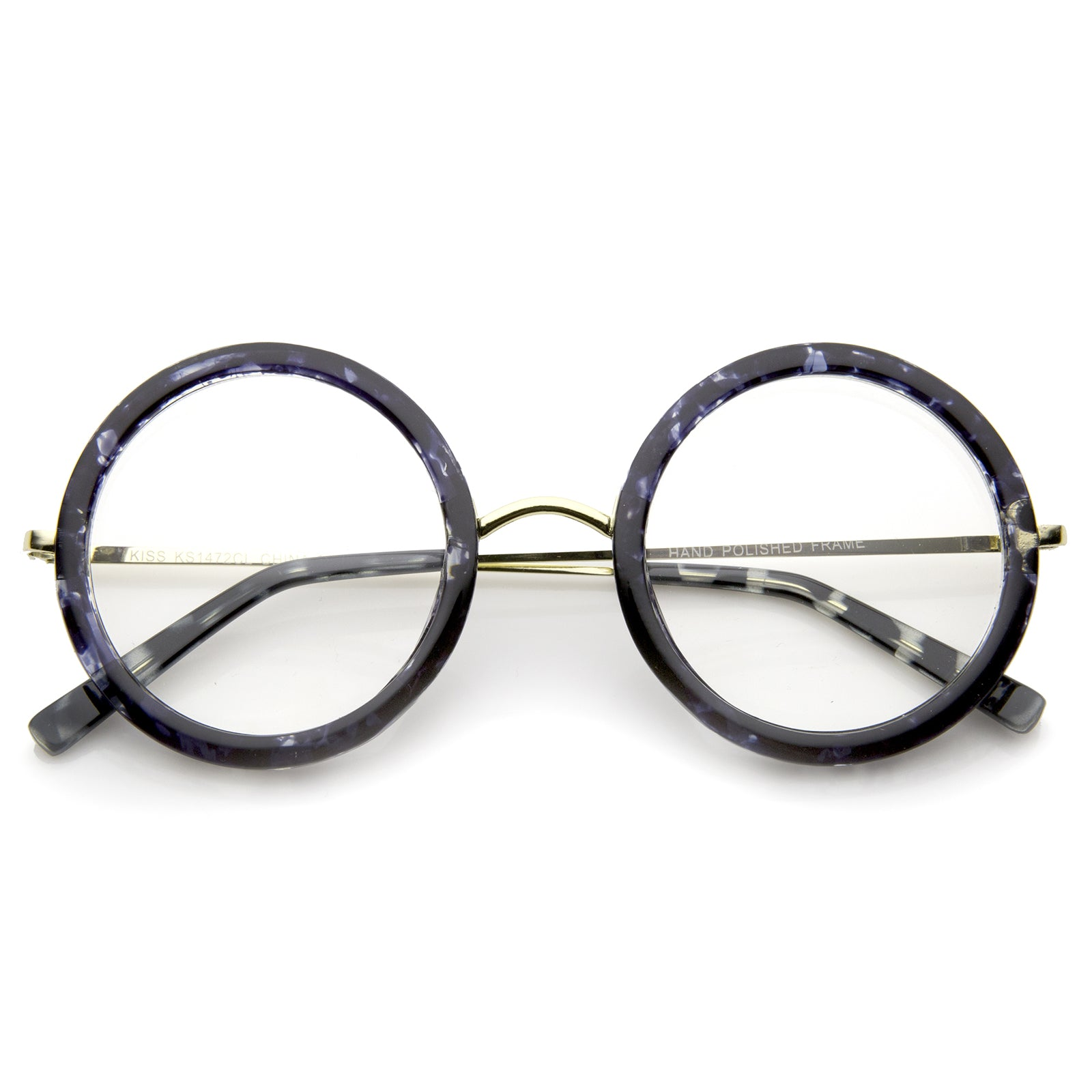 Lennon Retro Fashion Thick Frame Metal Temple Round Clear Lens Glasses 50mm - sunglass.la - 5