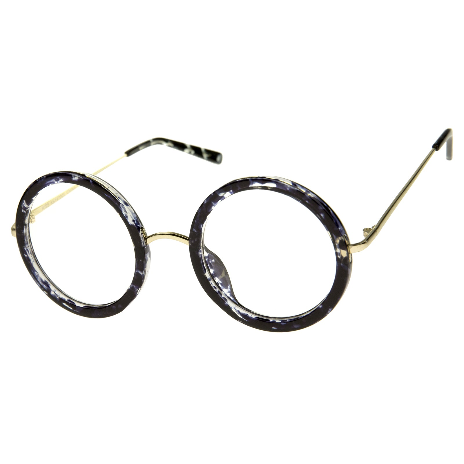 Lennon Retro Fashion Thick Frame Metal Temple Round Clear Lens Glasses 50mm - sunglass.la - 6