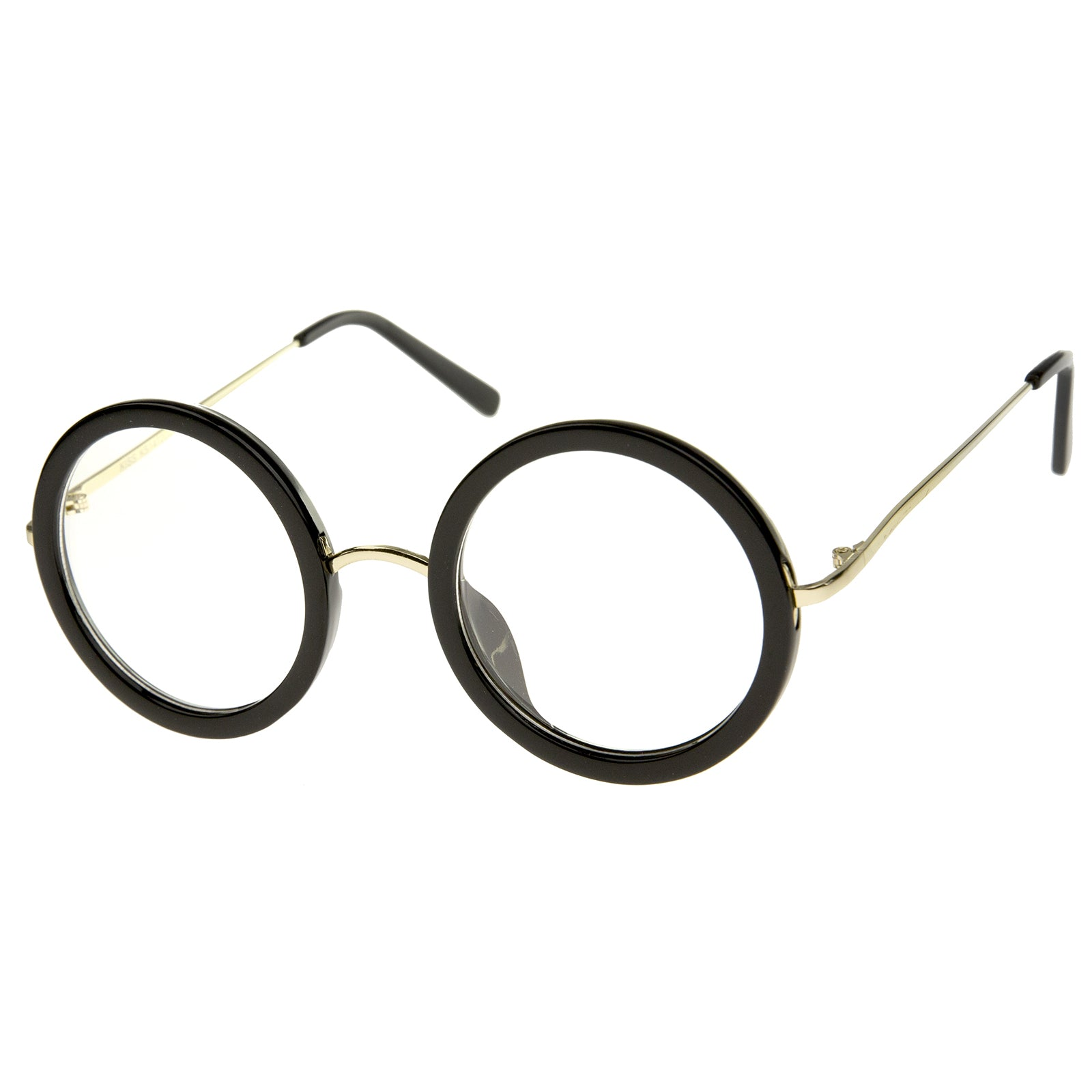 Lennon Retro Fashion Thick Frame Metal Temple Round Clear Lens Glasses 50mm - sunglass.la - 10