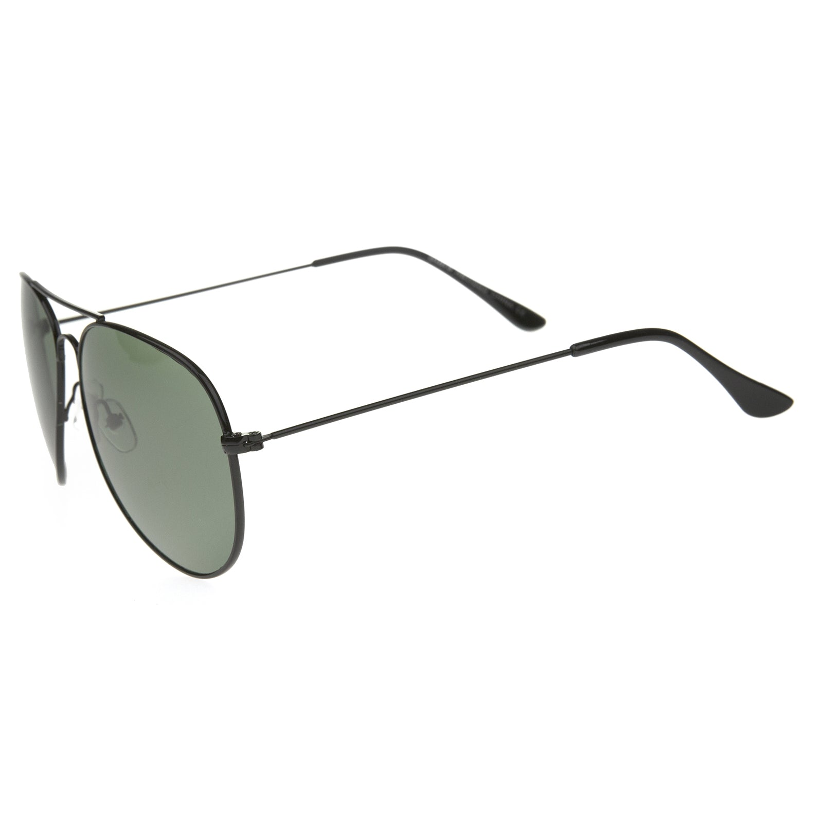 Classic Brow Bar Full Metal Frame Green Lens Aviator Sunglasses 60mm - sunglass.la
