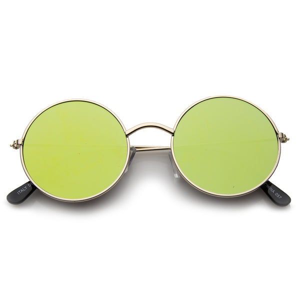 Lennon Style Full Metal Frame Iridescent Mirror Flat Lens Round Sunglasses 48mm - sunglass.la - 1