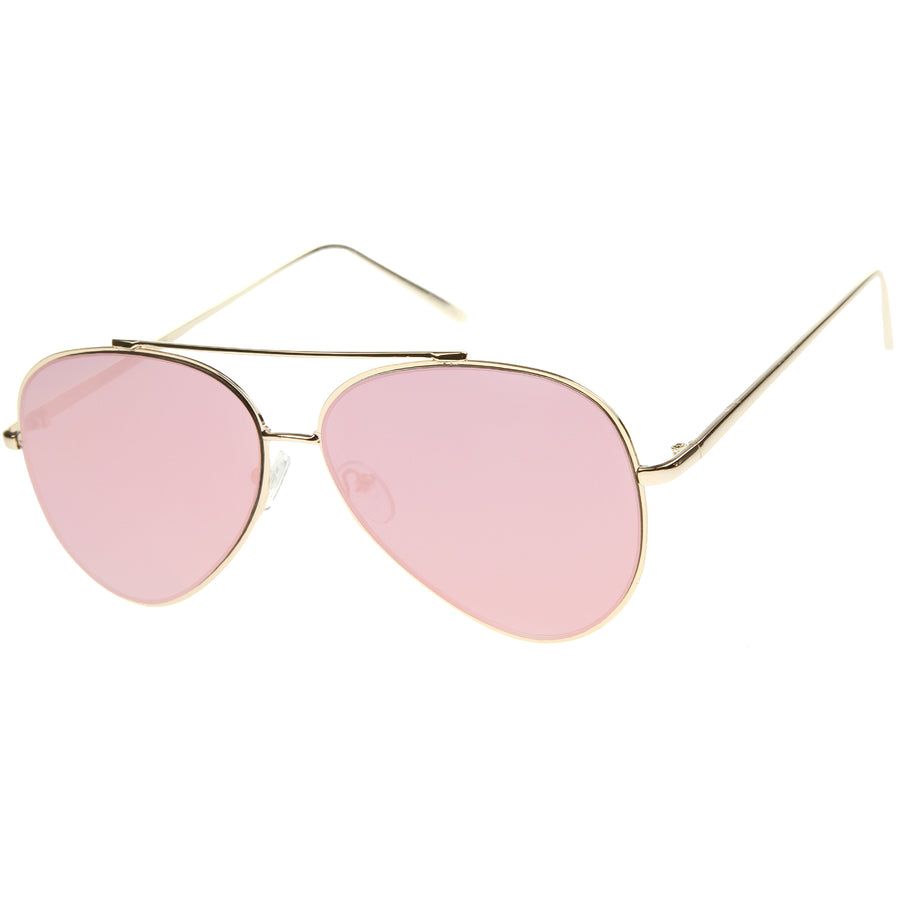 Fashion Teardrop Rimless Mirror Flat Lens Metal Frame Aviator Sunglasses 58mm