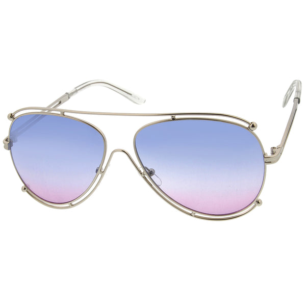 Modern Metal Border Frame Crossbar Colorful Gradient Lens Aviator Sunglasses 59mm - sunglass.la - 1