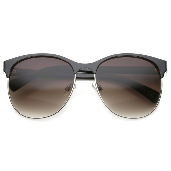 Women's Fashion Two Toned Tinted Lens Half-Frame Round Sunglasses 55mm - sunglass.la - 1