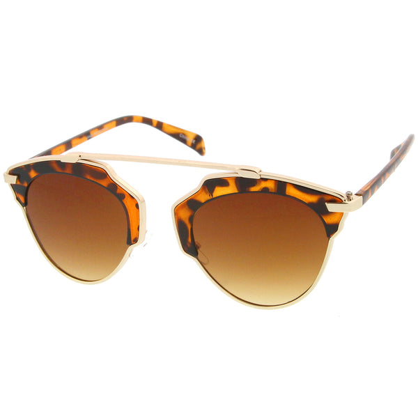 High Fashion Two-Toned Pantos Crossbar Tinted Lens Aviator Sunglasses 52mm - sunglass.la - 1