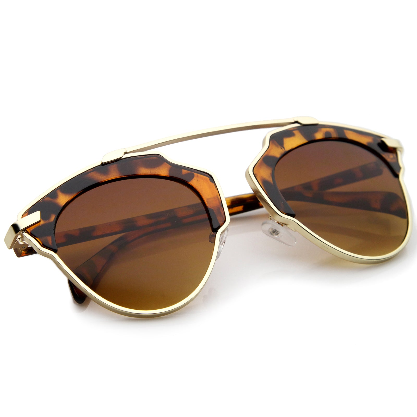 High Fashion Two-Toned Pantos Crossbar Tinted Lens Aviator Sunglasses 52mm - sunglass.la - 4