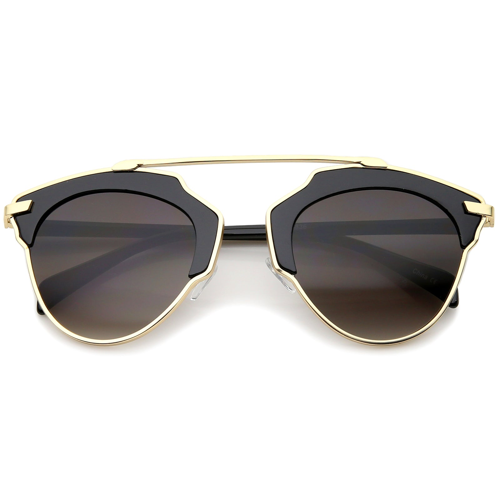 High Fashion Two-Toned Pantos Crossbar Tinted Lens Aviator Sunglasses 52mm - sunglass.la - 5
