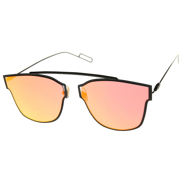 Modern Flash Mirror Lens Ultra Thin Open Metal Minimal Pantos Aviator Sunglasses 59mm - sunglass.la - 1