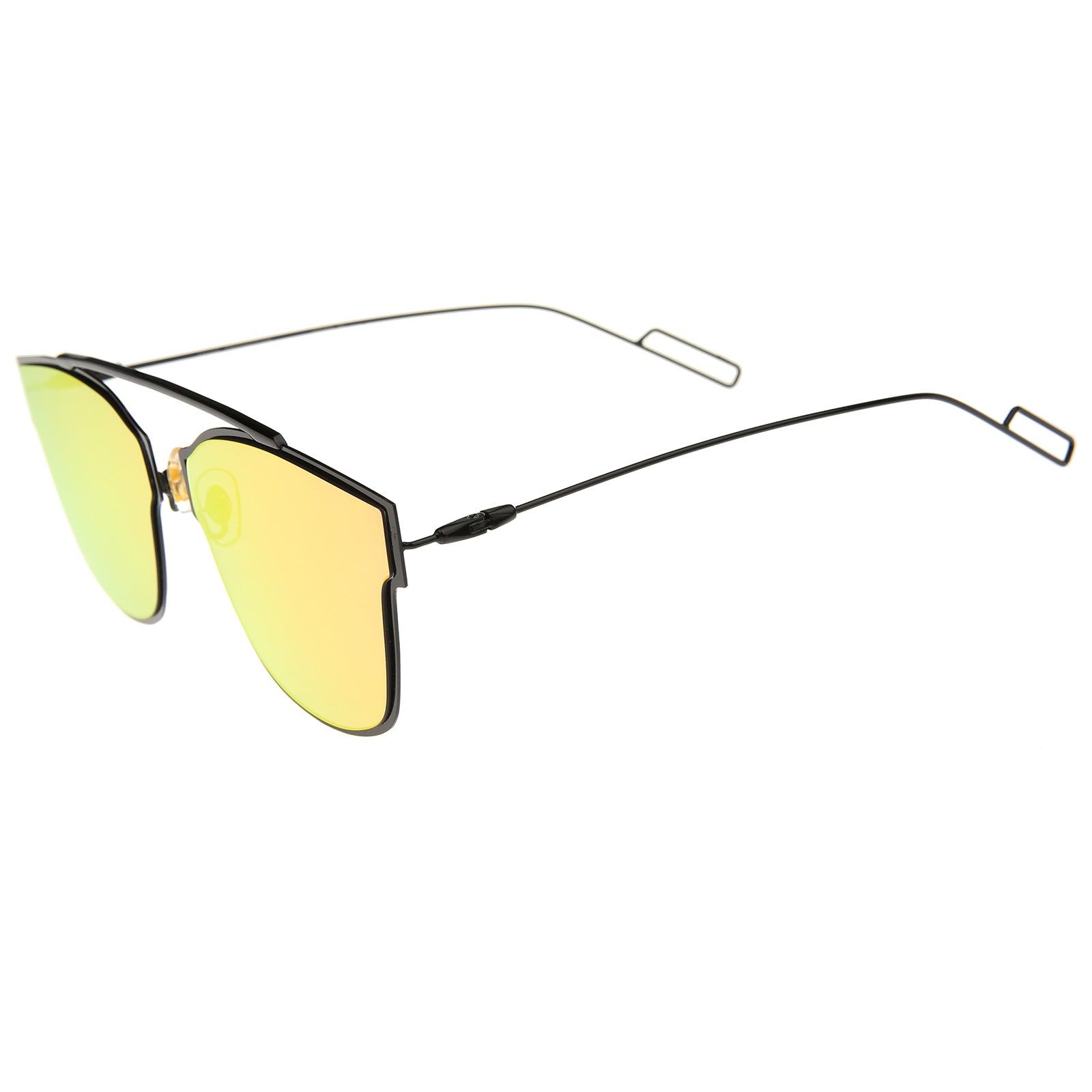 Modern Flash Mirror Lens Ultra Thin Open Metal Minimal Pantos Aviator Sunglasses 59mm - sunglass.la - 3