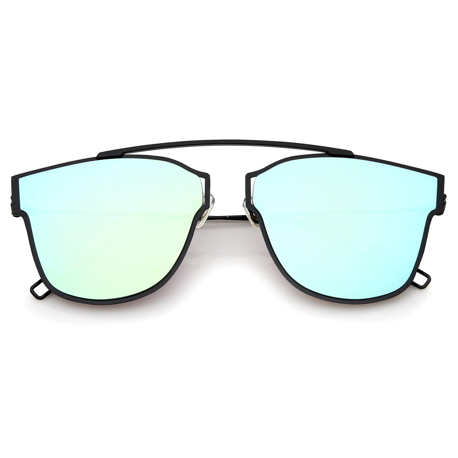 Modern Flash Mirror Lens Ultra Thin Open Metal Minimal Pantos Aviator Sunglasses 59mm - sunglass.la - 5