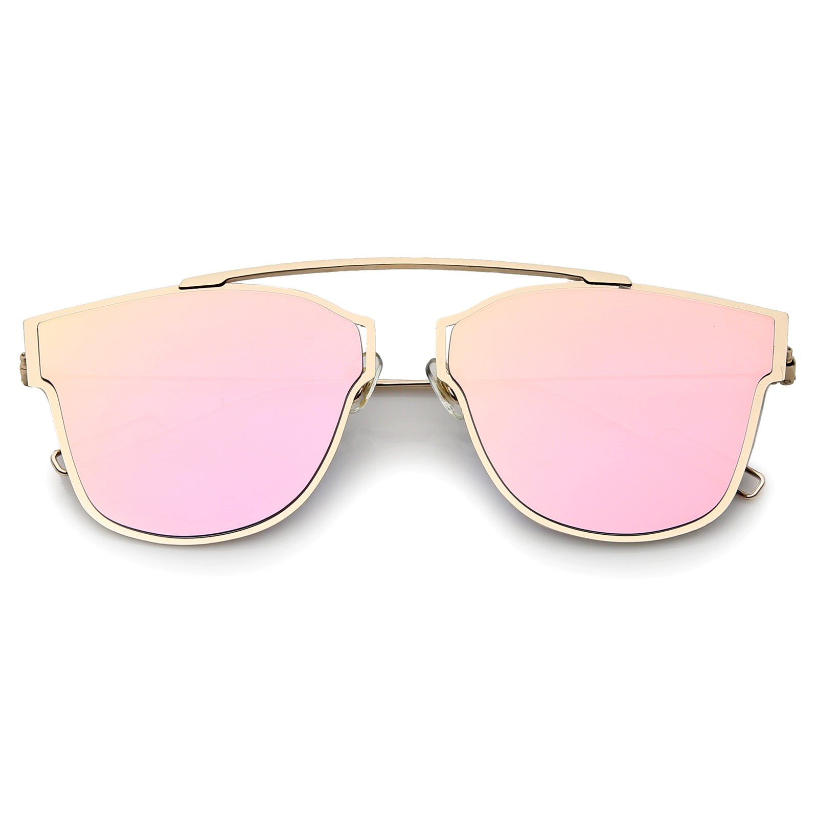 Modern Flash Mirror Lens Ultra Thin Open Metal Minimal Pantos Aviator Sunglasses 59mm - sunglass.la - 7