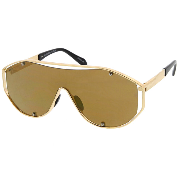 Futuristic Metal Frame Inner Rimless Mono Lens Shield Aviator Sunglasses 70mm - sunglass.la
