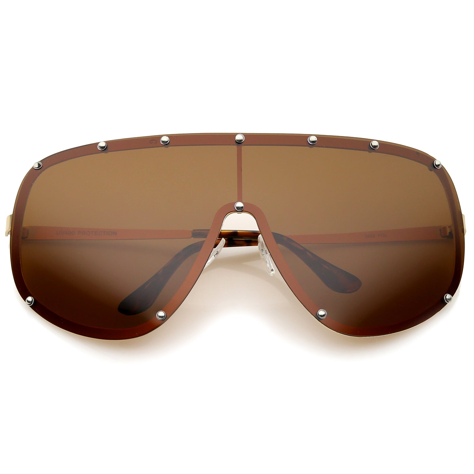 Oversize Flat Top Riveted Rimless Polarized Mono Lens Shield Sunglasses 80mm - sunglass.la - 1