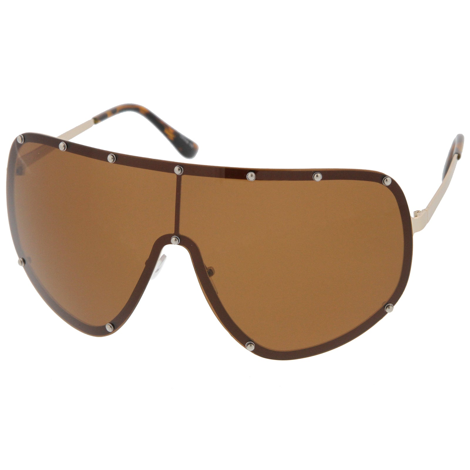 Oversize Flat Top Riveted Rimless Polarized Mono Lens Shield Sunglasses 80mm - sunglass.la - 2