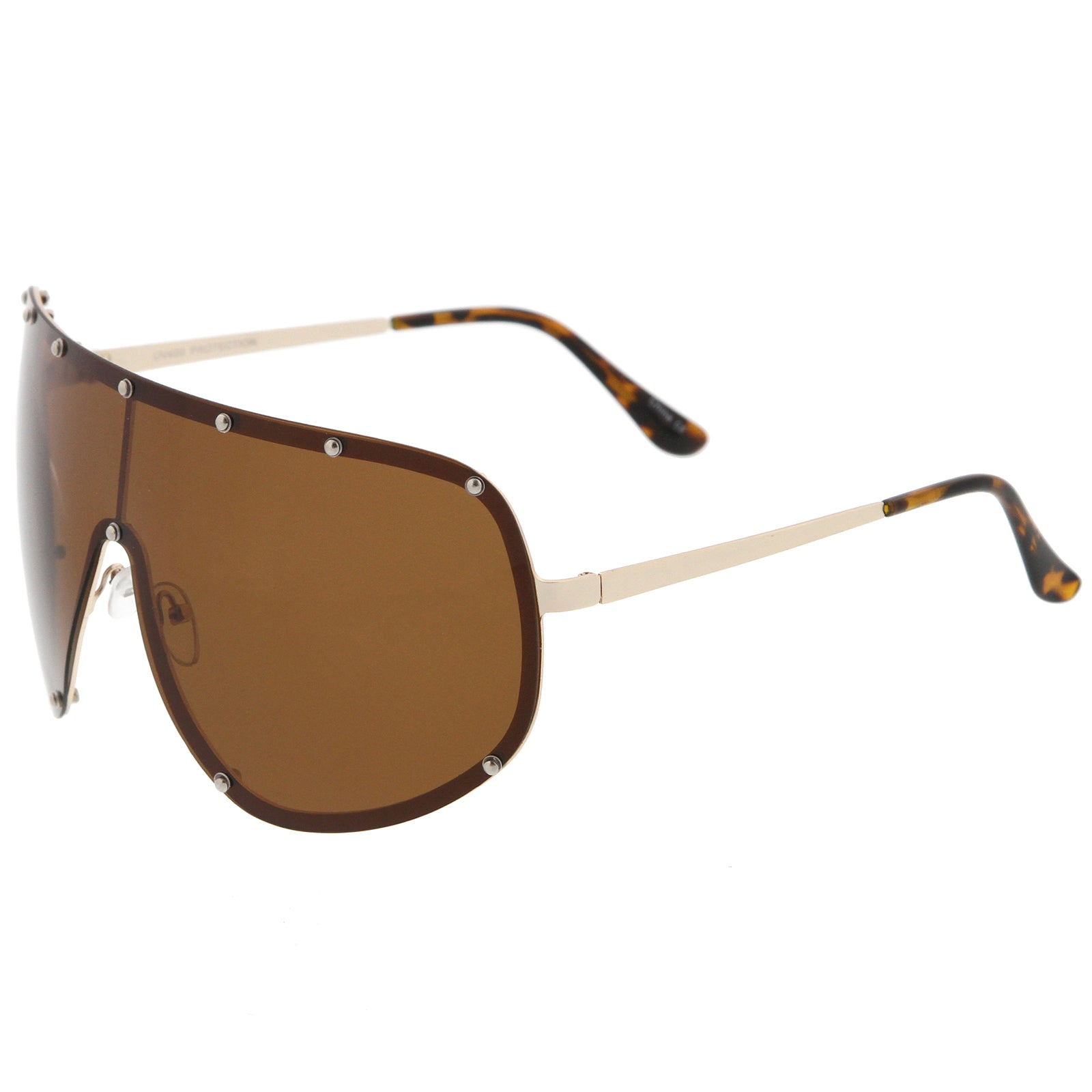 Oversize Flat Top Riveted Rimless Polarized Mono Lens Shield Sunglasses 80mm - sunglass.la - 3