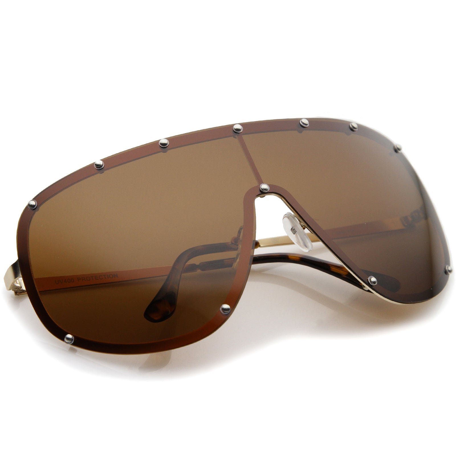 Oversize Flat Top Riveted Rimless Polarized Mono Lens Shield Sunglasses 80mm - sunglass.la - 4
