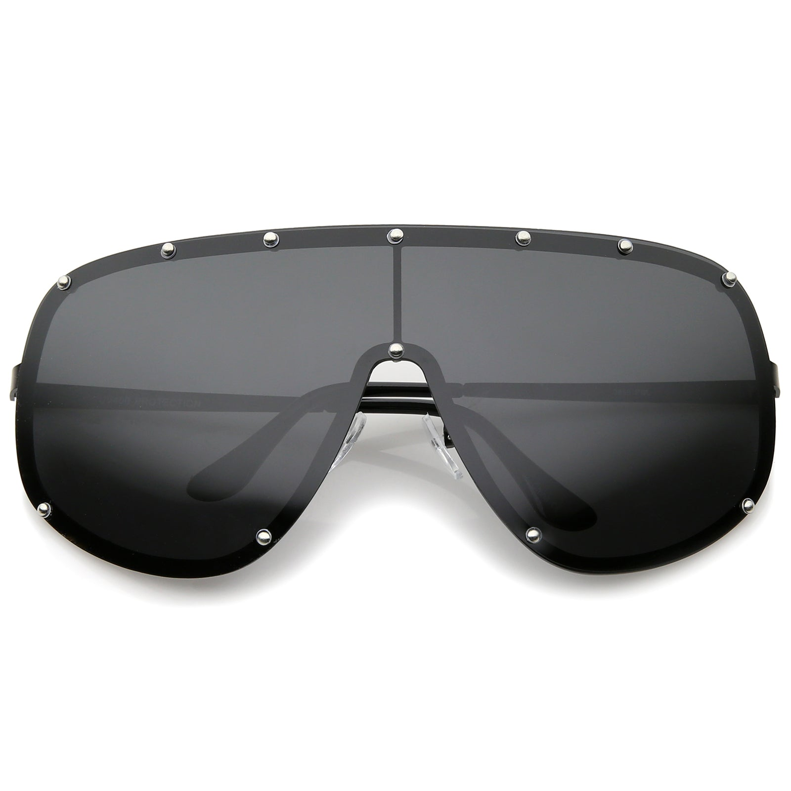 Oversize Flat Top Riveted Rimless Polarized Mono Lens Shield Sunglasses 80mm - sunglass.la - 5