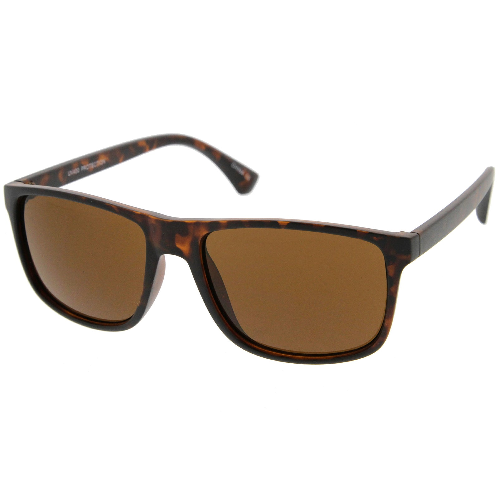 Modern Casual Lifestyle Flat Top Rectangle Lens Horn Rimmed Sunglasses 56mm - sunglass.la - 2