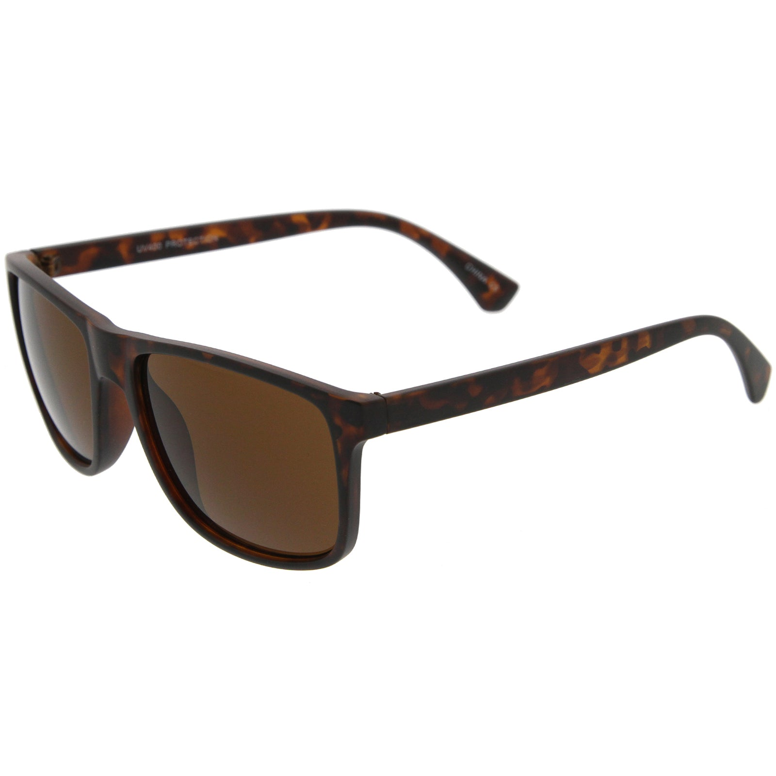 Modern Casual Lifestyle Flat Top Rectangle Lens Horn Rimmed Sunglasses 56mm - sunglass.la - 3