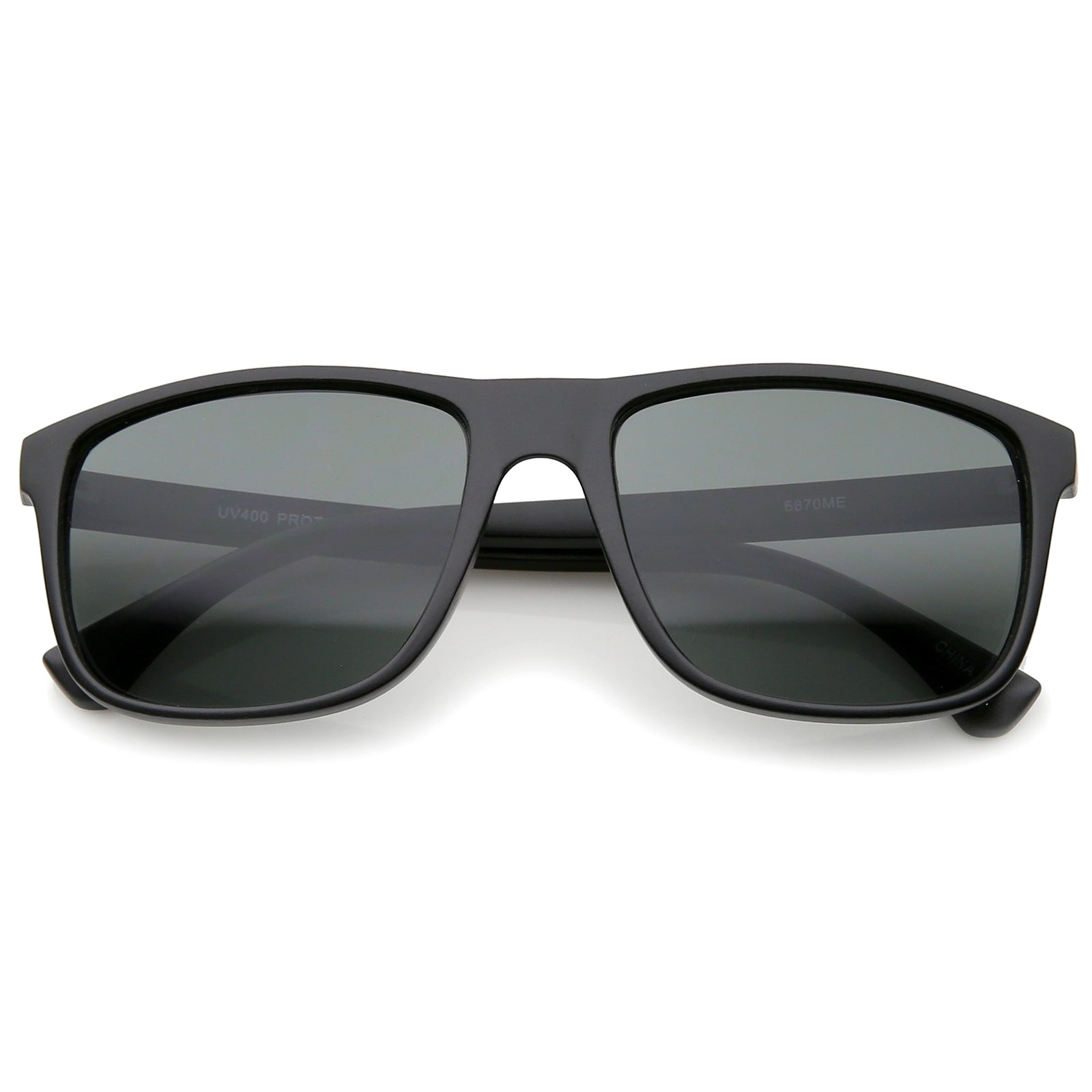 Modern Casual Lifestyle Flat Top Rectangle Lens Horn Rimmed Sunglasses 56mm - sunglass.la - 6