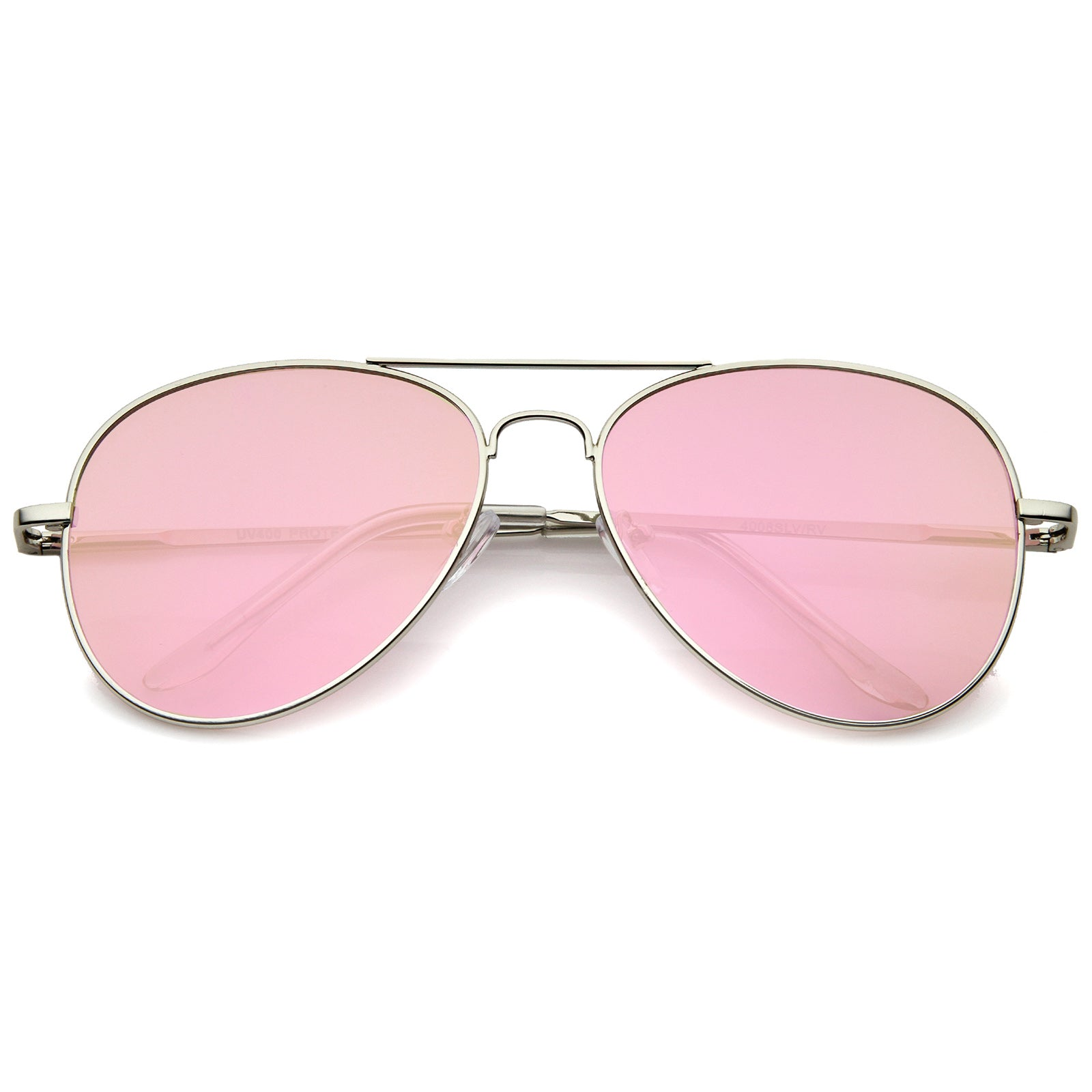 Small Full Metal Color Mirror Teardrop Flat Lens Aviator Sunglasses 56mm - sunglass.la - 1