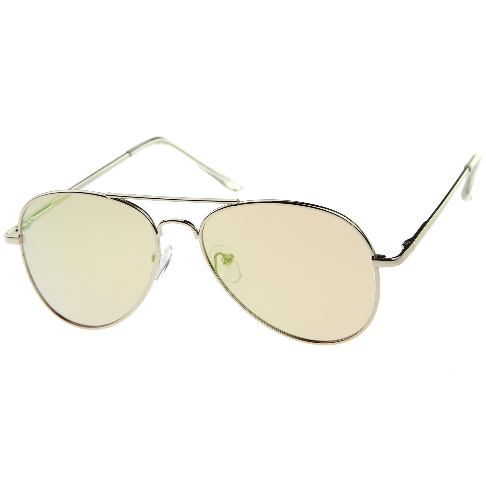 Small Full Metal Color Mirror Teardrop Flat Lens Aviator Sunglasses 56mm - sunglass.la - 2