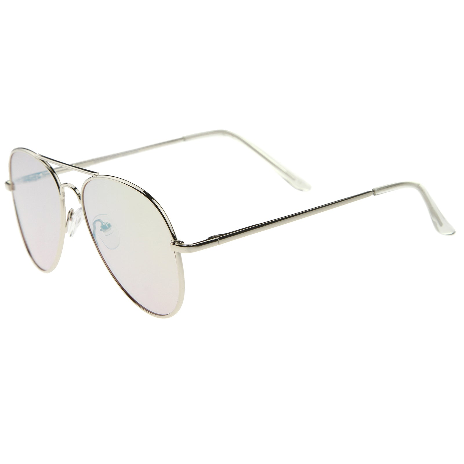 Small Full Metal Color Mirror Teardrop Flat Lens Aviator Sunglasses 56mm - sunglass.la - 3