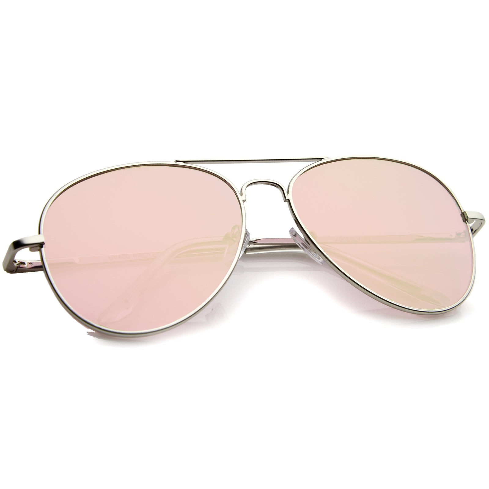 Small Full Metal Color Mirror Teardrop Flat Lens Aviator Sunglasses 56mm - sunglass.la - 4