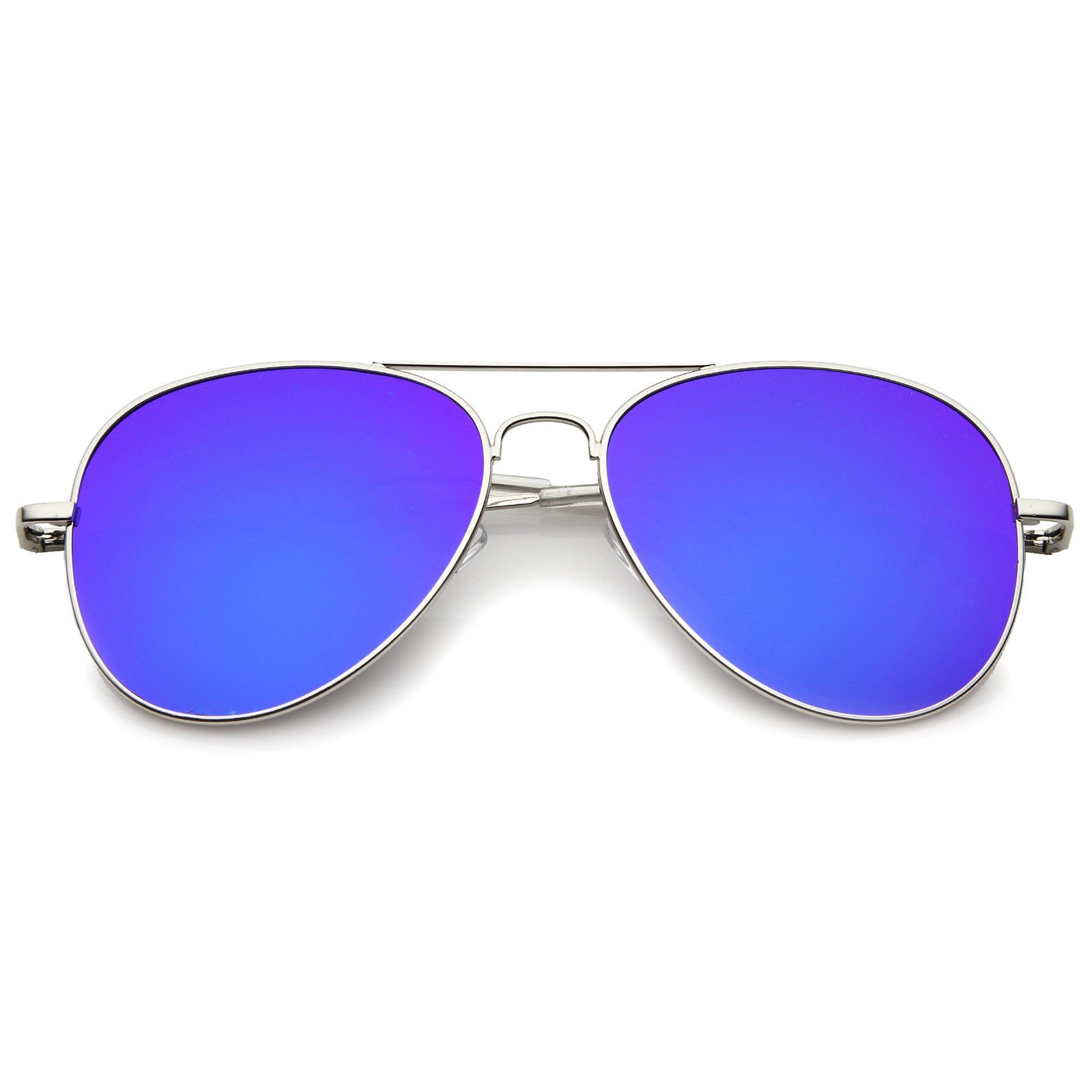 Small Full Metal Color Mirror Teardrop Flat Lens Aviator Sunglasses 56mm - sunglass.la - 5