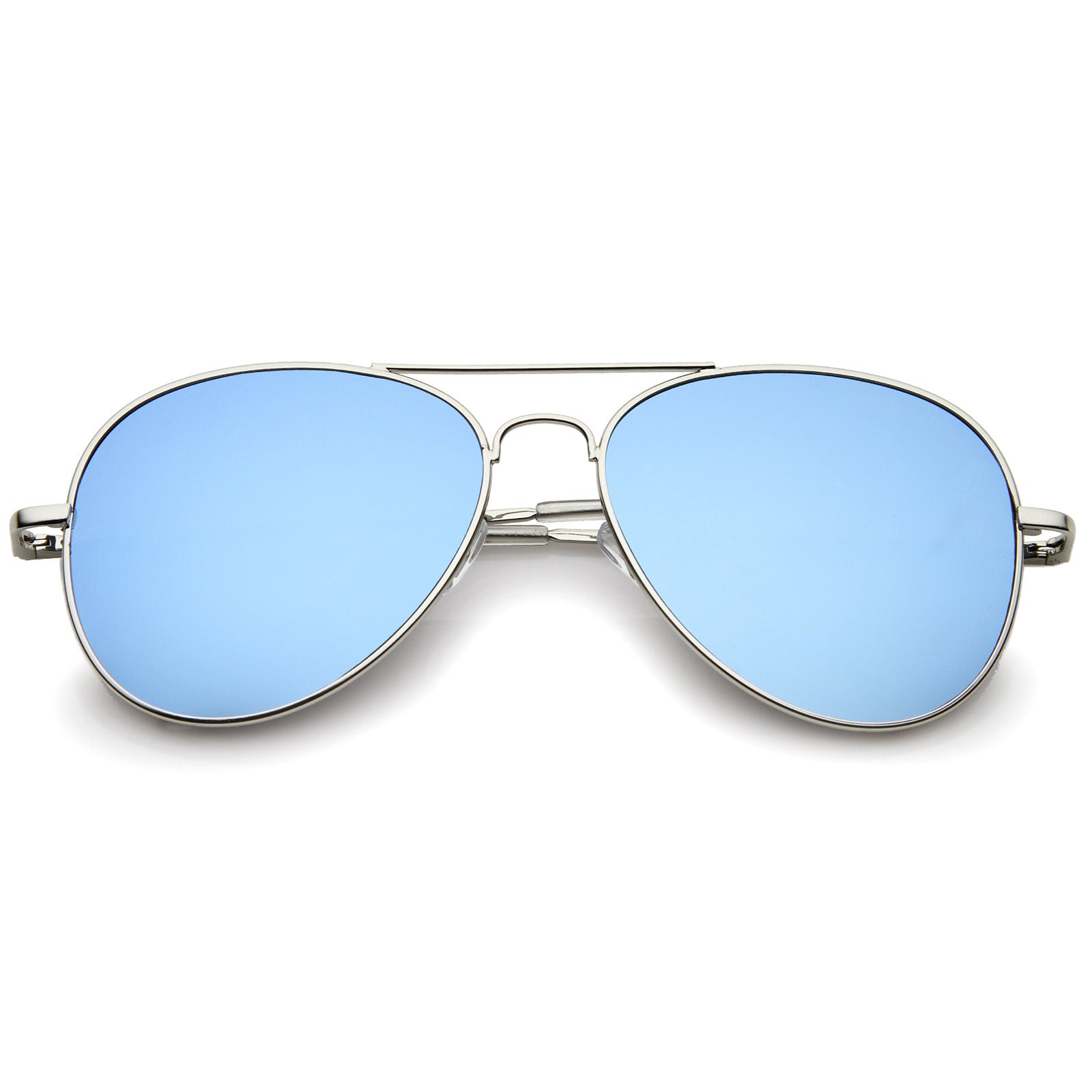 Small Full Metal Color Mirror Teardrop Flat Lens Aviator Sunglasses 56mm - sunglass.la - 6