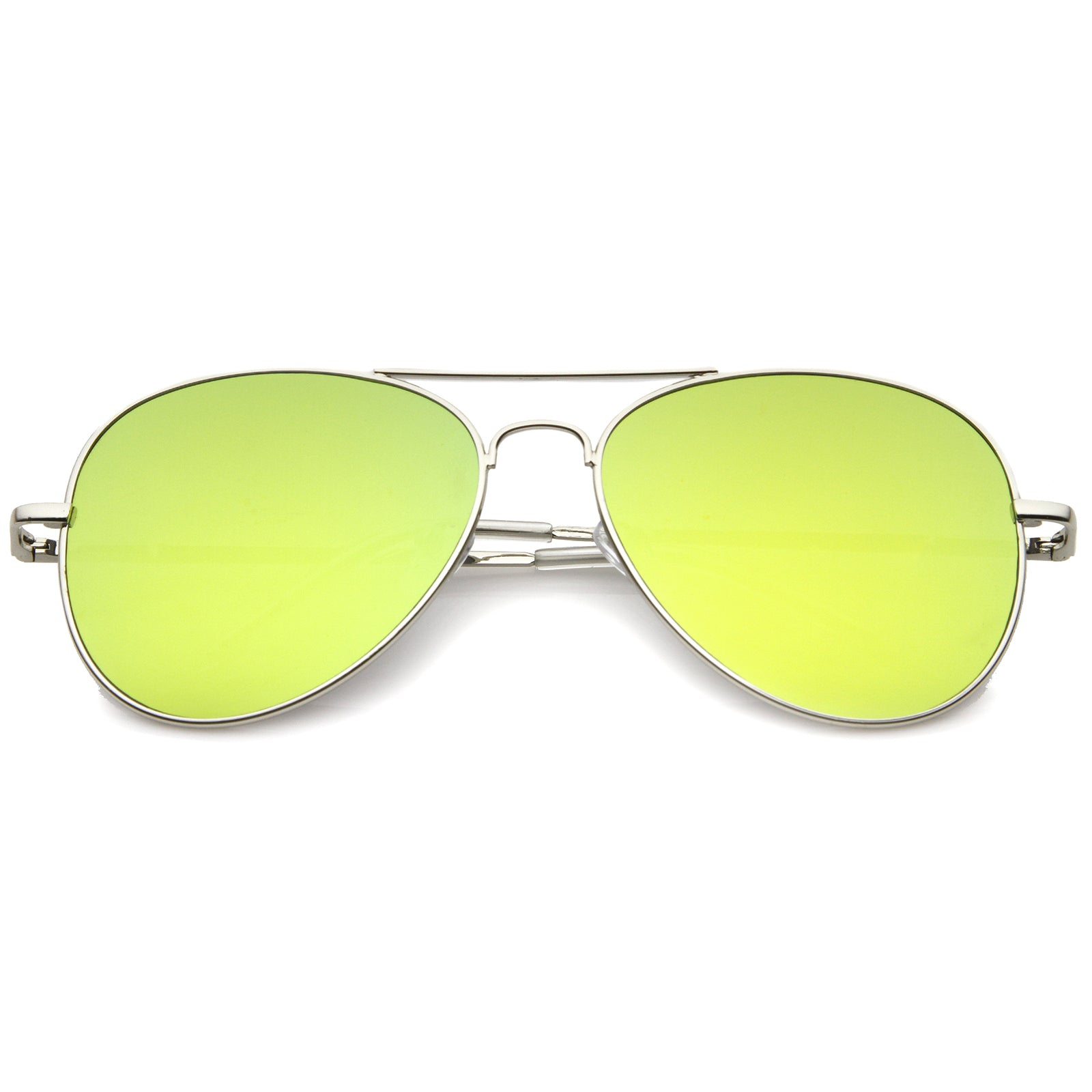 Small Full Metal Color Mirror Teardrop Flat Lens Aviator Sunglasses 56mm - sunglass.la - 8