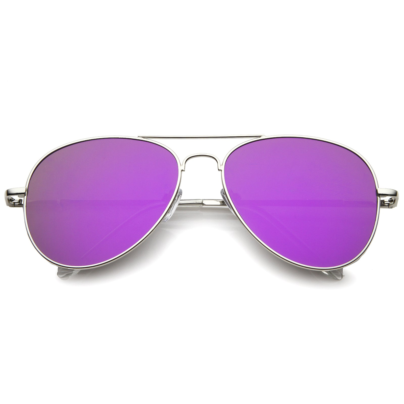 Small Full Metal Color Mirror Teardrop Flat Lens Aviator Sunglasses 56mm - sunglass.la - 9
