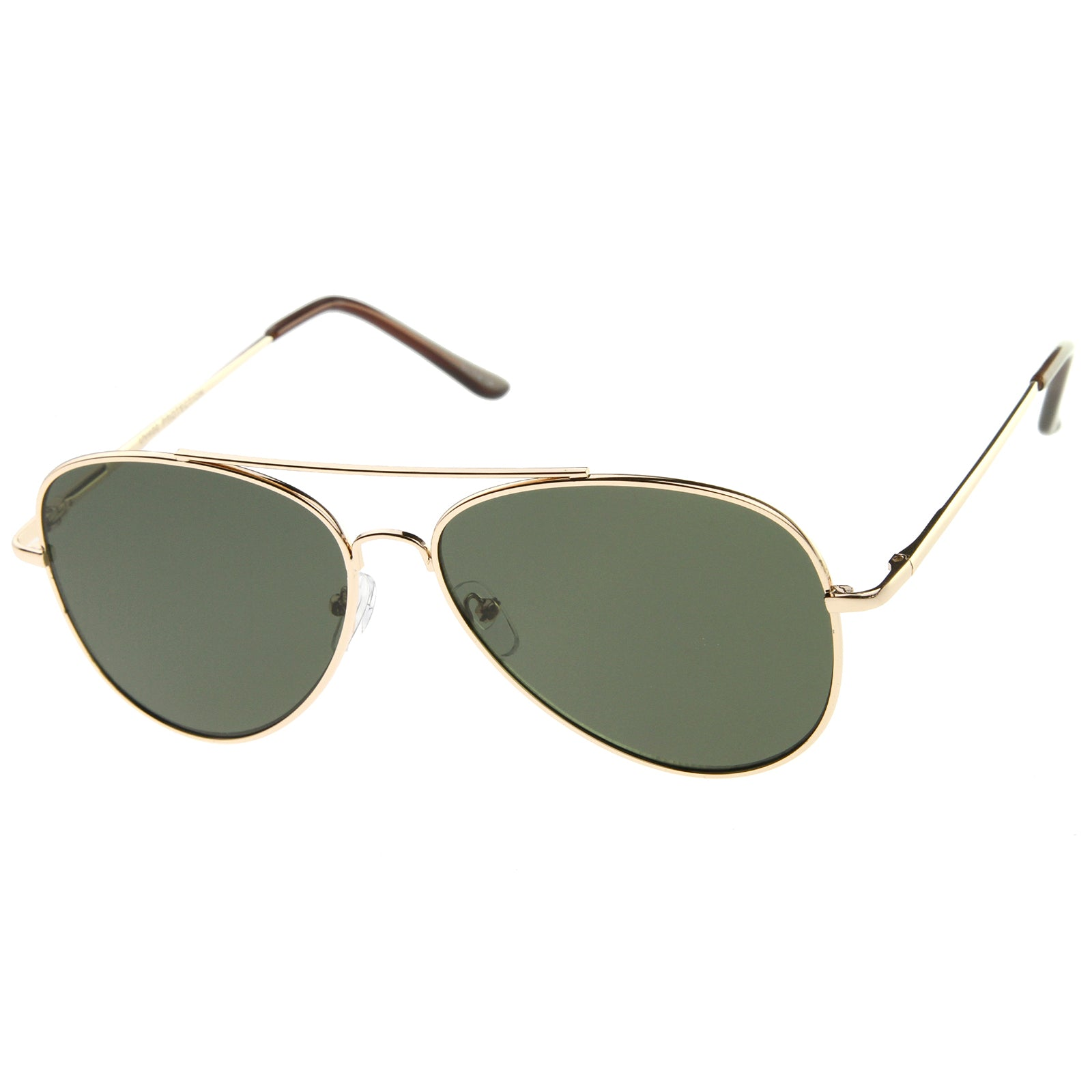 Large Classic Full Metal Teardrop Flat Lens Aviator Sunglasses 60mm - sunglass.la
