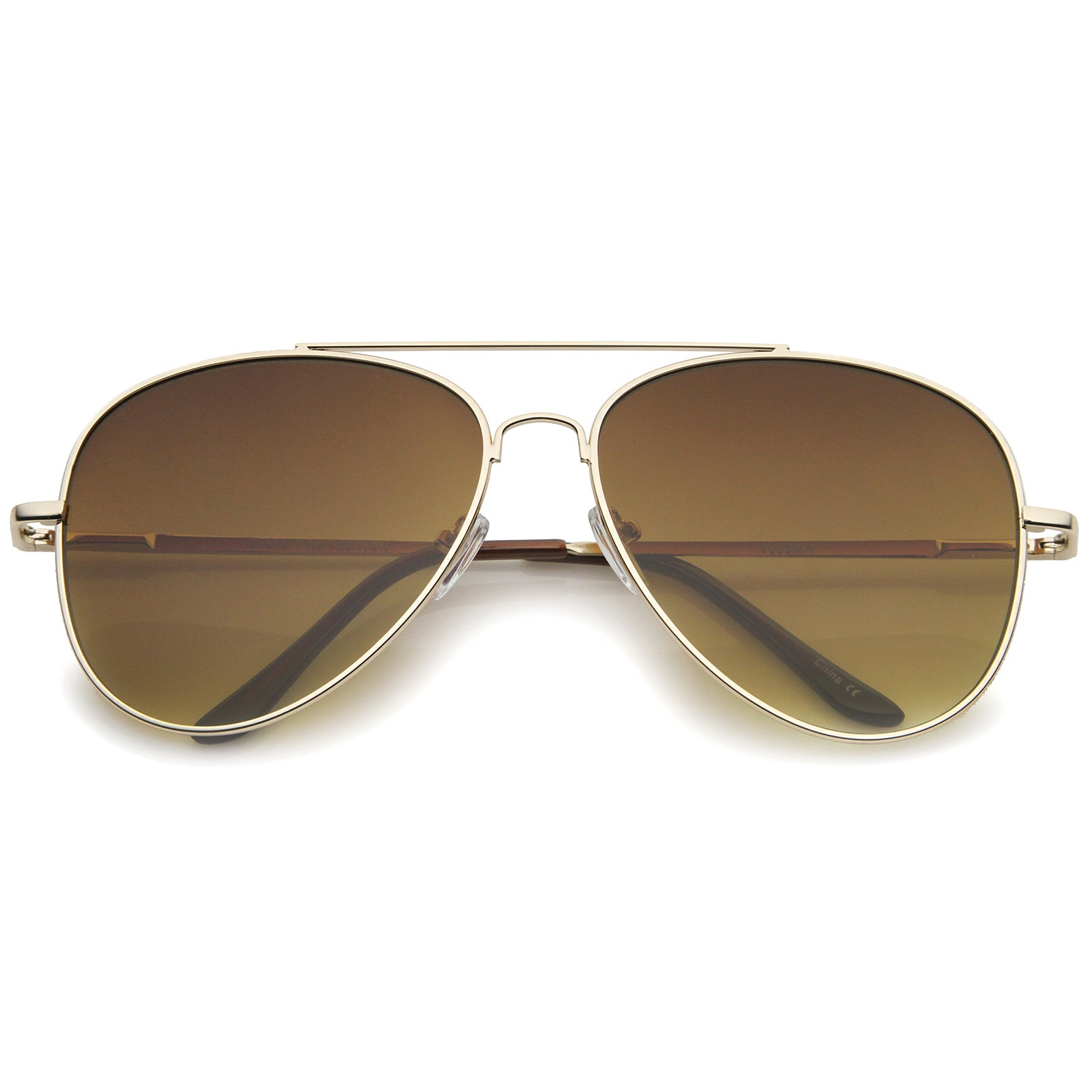 Large Classic Full Metal Teardrop Flat Lens Aviator Sunglasses 60mm - sunglass.la - 6